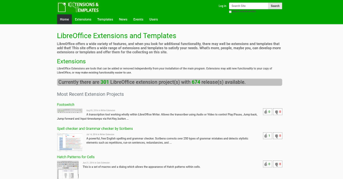 Extensions/Templates de LibreOffice